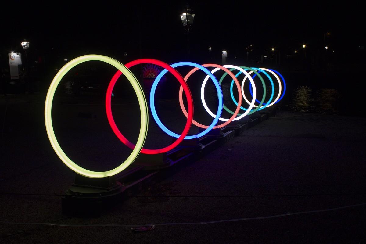 bunte Lichtspirale